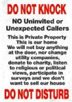 No Canvassers Cold Callers Metal Sign Wall Plaque 15X20cm